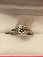 Stunning 9ct White Gold Ladies 5pt Diamond Cluster Engagement Ring L BN RRP £199