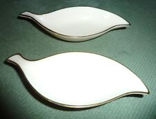 Set of 2 Lenox Elegant Porcelain Caviar/Jewelry Dishes Leaf Design 24K Gold Rim