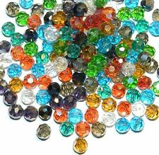 CRBL699 Assorted Color Clear & AB Mix 8mm Faceted Round Crystal Glass Bead 100pc