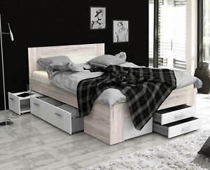 Bett 140x200cm Stauraumbett Funktionsbett Schubladen sandeiche weiß 62128531