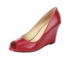 Coshare Women's Fashion Assorted Peep Toe Mid Heel Wedge Pumps (7.5 B(M) US, Red