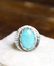 Sterling Silver 925 Blue Amazonite Gemstone Bezel handmade ring 6.5 Free Ship