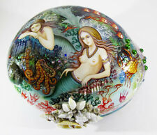 "Sale Russian Lacquer box Kholui ""Sea world of Mermaids"" Pearl Hand Painted #46-2"