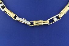 "Solid 14k Two Tone Gold Men's Fancy Chain, 35.3gm, 26"", Made In Italy"