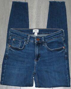 Womens🦋RIVER ISLAND🦋blue stretch skinny raw hem denim jeans size 10S