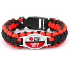 Diabetic Alert Bracelet Type 1 Red Black Paracord  NEW USA SELLER