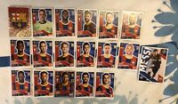 TOPPS UEFA CHAMPIONS LEAGUE 2020/21 FULL TEAM SET OF ALL 18 BARCELONA STICKERS