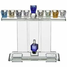 Judaica Crystal Elegant Hanukkiah - Colorful