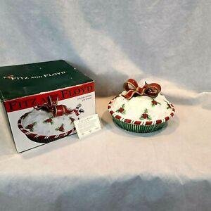 "Fitz And Floyd Pie Keeper ""Yuletide Holiday"" Christmas Santa Claus Ceramic Dish"