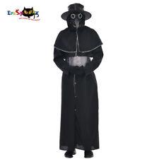 Mens Plague Doctor Costume Adult Black Death Halloween Fancy Dress Outfits