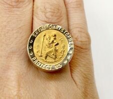 18k & 14K Yellow Gold Saint Christopher Protect Us Ring Womens/ Mens Size 7.25