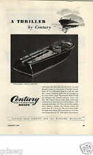 1947 PAPER AD Century Inboard Outboard Motor Boat Motorboat Sea Maid 19 Mahogany
