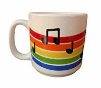Vintage Russ Berrie Mug Rainbow Music Colorful Coffee Cup 1980's LGBTQ