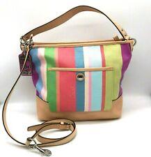 NWT Coach Hamptons Legacy Stripe Shoulder Bag Women's Rainbow Carly Crossbody
