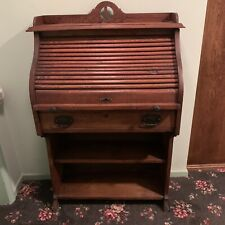 Antique Roll Top Oak Desk Pull Out Surface And Drawer