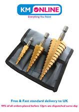 3 UDS Grande Cono Alta Velocidad Acero Paso Agujero Corte Broca Set con mochila