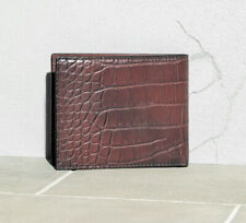 $1,995 Brunello Cucinelli Crocodile Alligator Leather Wallet Brown