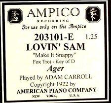 AMPICO (ReCut) Ager LOVIN' SAM Adam Carroll 203101-E Player Piano Roll