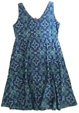 FRESH PRODUCE Large Deep Dive Blue TILE PLAY Stretch Knit OLIVIA Dress NWT New L