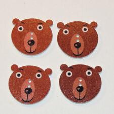 Bear wooden 2 hole button set of  5