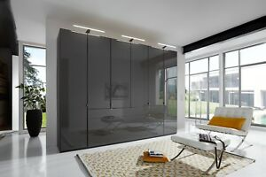 HIGH END GERMAN WARDROBE BEDROOM 1M 2M 3M 4M WHITE BLACK GLASS MIRROR FITTED