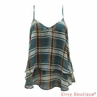 New Ladies Womens Tartan Check Stripe Print Strappy Camisole Swing Cami Vest Top