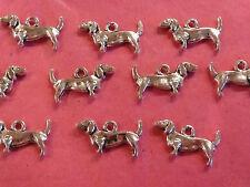 Tibetan Silver Dachshund Dog/Sausage Dog Charms 10 per pack