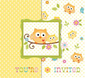 8 x Happi Tree Owl Baby Shower Invitation Cards Baby Invites
