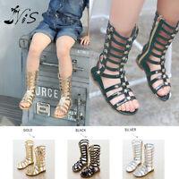 Nis Girl Kids Summer Gladiator Sandals Princess Children Casual Flat Shoe Zipper