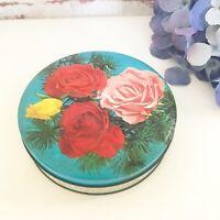 Vintage Floral Rose Tin Litho box, Round Canister, Tea can jar, decorative