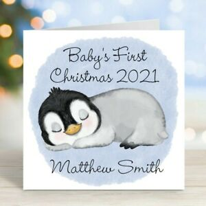 Baby's 1st First Christmas 2021 Personalised Christmas Card Sleeping Penguin