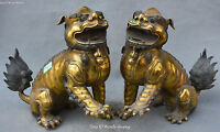 China Bronze Gilt Fengshui Lion Leo Beast Incense Burner Censer Pair Statue