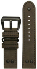 22mm Panatime MB-1 Vintage Olive Pilot Watch Band w/Black Stitching 22/22 125/75