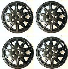 14'' Rally Sport Black Car Wheel Trim Hub Cap Covers Multi-Spoke + Valve Caps