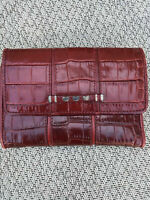 Brighton Red Leather Croc Silver Plated Heart Accents Tri-Fold Wallet Handbag