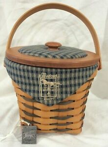 Longaberger Basket 1998 The Crawford Barn 4 Signatures lid liner tie-on protectr