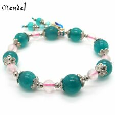 MENDEL Natural Amazonite Stone Beads Bracelet Crystal Quartz Jewelry Silver