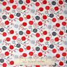 Cat Fabric - Red Gray Black Balls of Yarn on White - Timeless Treasures YARD
