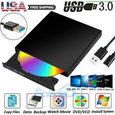 Portable Slim External USB 3.0 DVD CD Drive Burner Reader Player For Laptop PC
