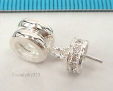 1x STERLING SILVER EUROPEAN BRACELET CHARM CONNECTOR BEAD w/ CZ CAP PIN #2303