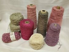 Large Lot of Chenille Yarn Weave Knit Cone Pinks Blue Brown White Purple #50