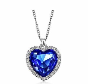 "Heart Simulated Blue Sapphire White Topaz CZ Silver Pendant 18"" Chain Necklace"