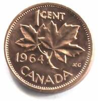 1964 Canadian Uncirculated 1 Cent Maple Leaf One Penny Coin - Canada