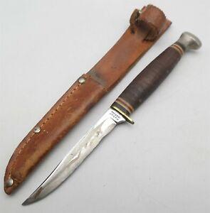 "Vtg KABAR 1226 Youth Hunting knife USA made W/ Sheath 3 9/16"" blade Nice"