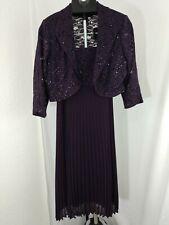 R&M Richards Glittered Lace Dress and Matching Bolero Jacket plum purple 12