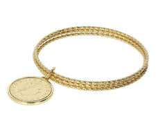 bracciale da donna Etrusca gioielli rigido schiava placcato oro 18 kt con moneta