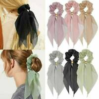 New Women Elastic Ponytail Scarf Bow Hair Rope Ties Scrunchies Ribbon Hair Band