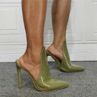 Female High Heels Sexy Patent Leather Pointy Toes Mule Stilettos Shoes Slingback