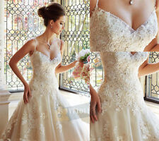 White/Ivory Mermaid Wedding Dresses Lace Appliques Spaghetti Strap Bridal Gown