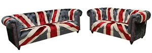 Chesterfield Union Jack Funky Sofas Velvet Fabric Fast Delivery 3+2 Seater Couch